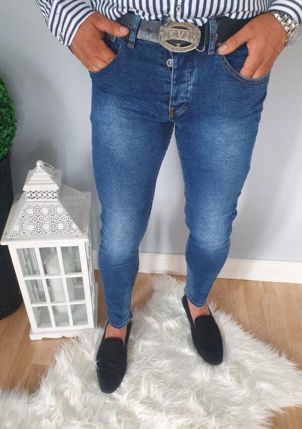 Spodnie męskie jeansy z przetarciami