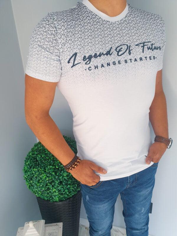 Biała koszulka męska z napisami