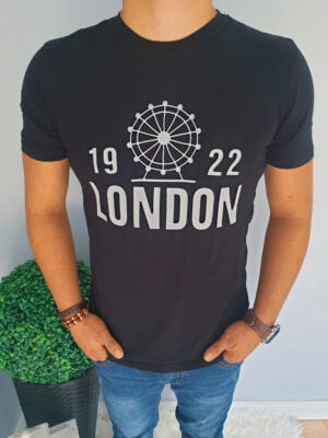 Czarny T-shirt z napisami London