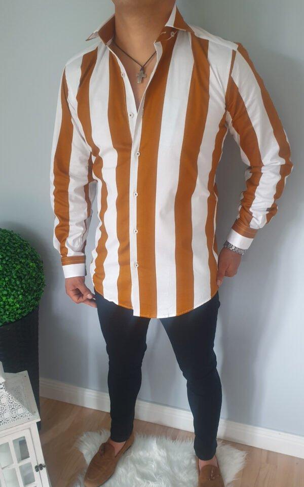 Koszula męska z pionowymi paskami