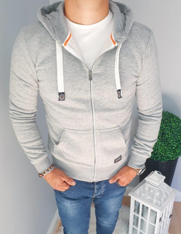 Bluza męska rozpinana z kapturem szara