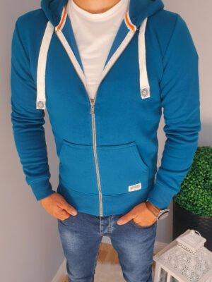 Bluza męska rozpinana z kapturem niebieska