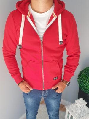 Czerwona rozpinana bluza męska z kapturem