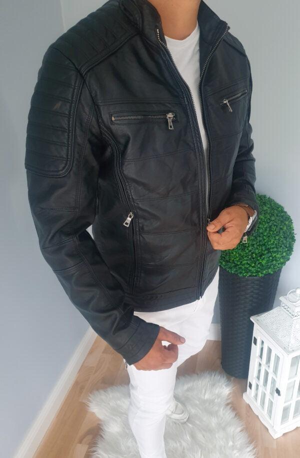 Czarna męska kurtka skórzana