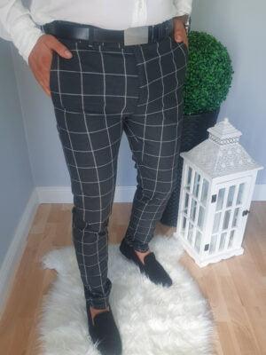 Grafitowe eleganckie męskie spodnie w kratę
