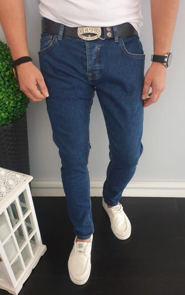 Klasyczne ciemne męskie jeansy Skinny