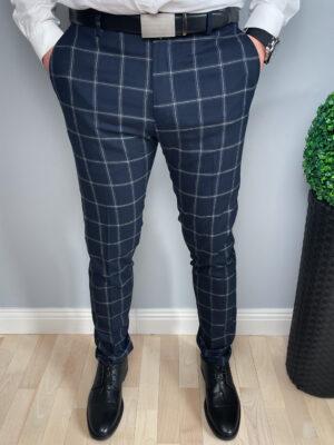 Granatowe wizytowe męskie spodnie w kratkę