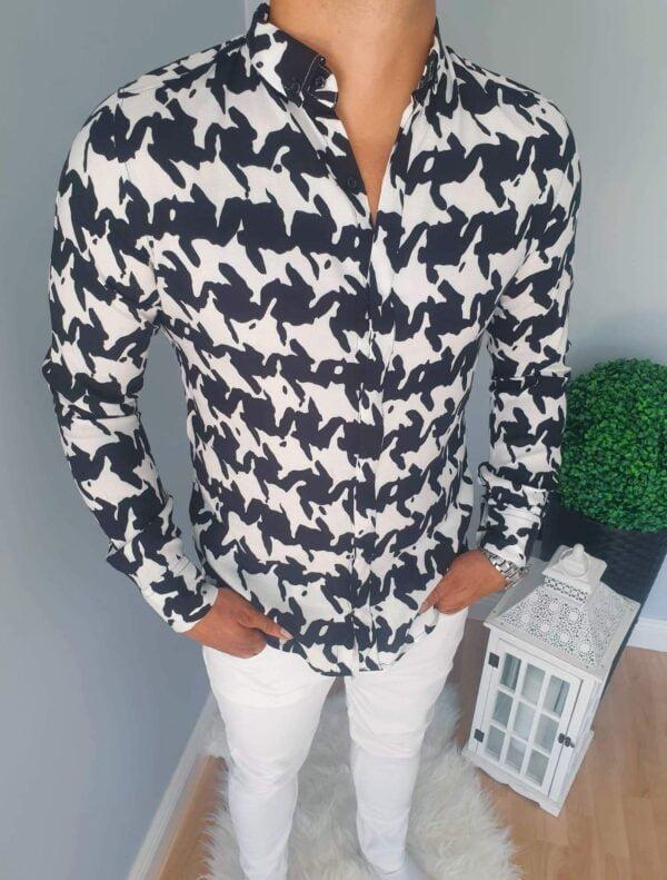 Koszula męska w biało-czarny wzór