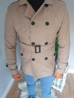 Męski płaszcz elegancki beżowy