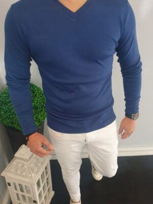 Koszulka Męska Longsleeve niebieska
