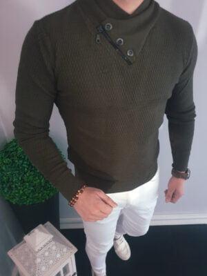 Zielony męski sweter z ozdobnym kołnierzem