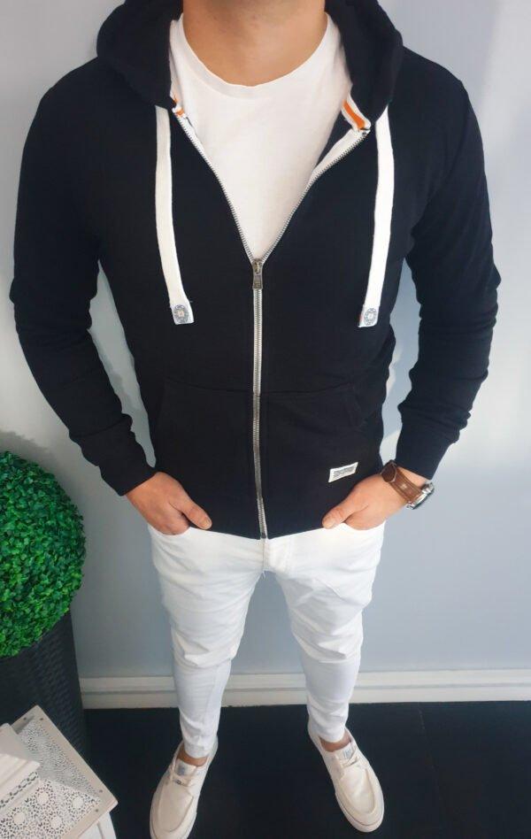 Bluza męska rozpinana z kapturem czarna