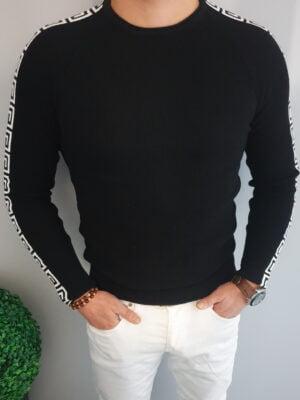 Czarny męski sweter z białym wzorem