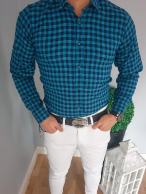Koszula męska w niebieską kratę