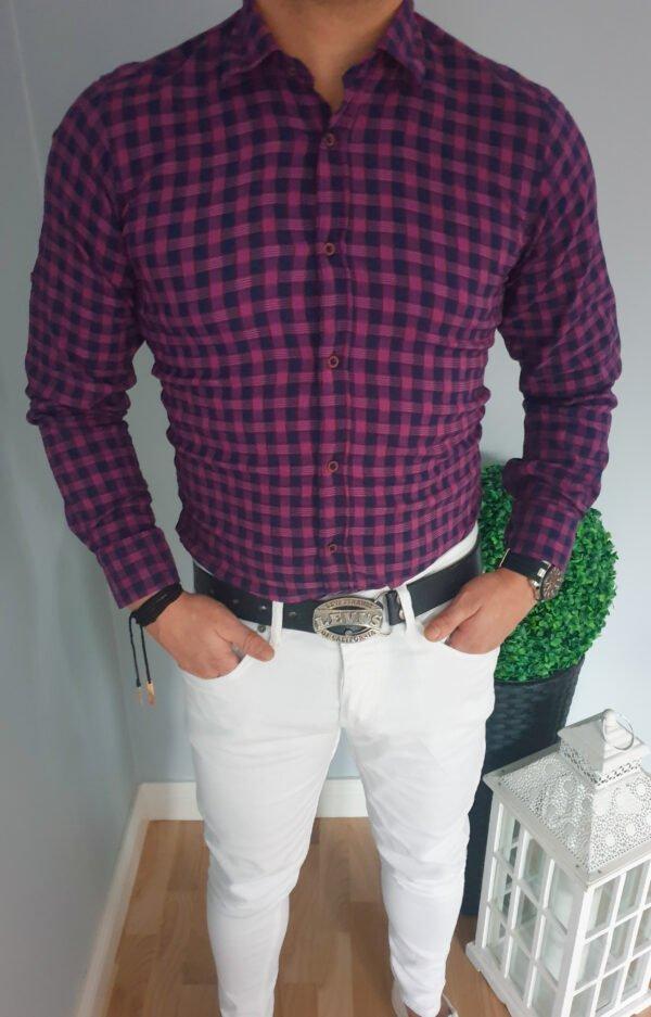 Koszula męska fioletowa w kratę