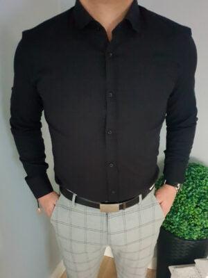 Czarna koszula męska z długim rękawem