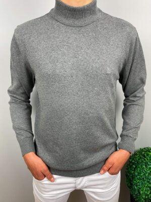 Męski szary sweter półgolf