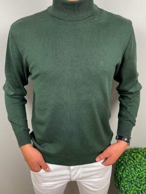 Męski sweter półgolf zielony