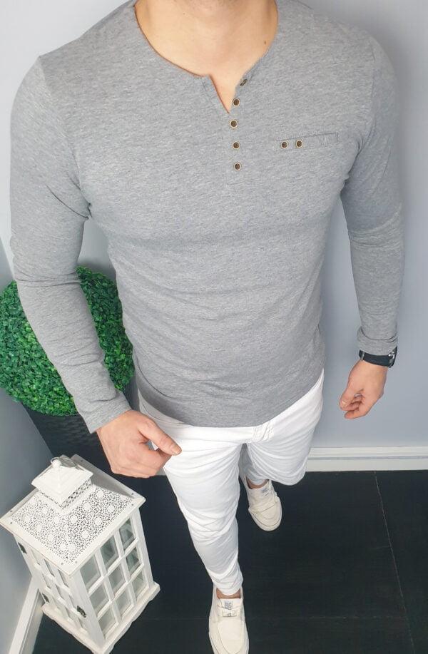 Koszulka Męska Z Długim Rękawem Szara Longsleeve