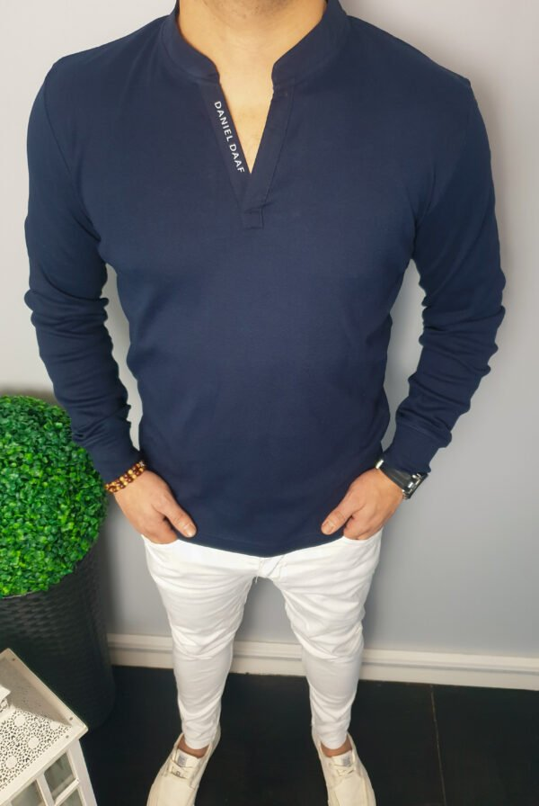 Granatowa Koszulka Ze Stójką Z Długim Rękawem Longsleeve