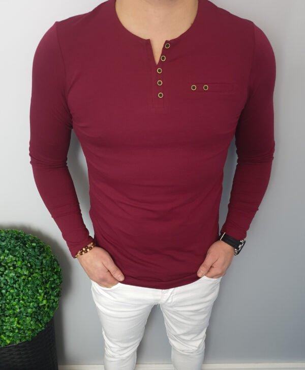 Koszulka Męska Z Długim Rękawem Bordowa Longsleeve