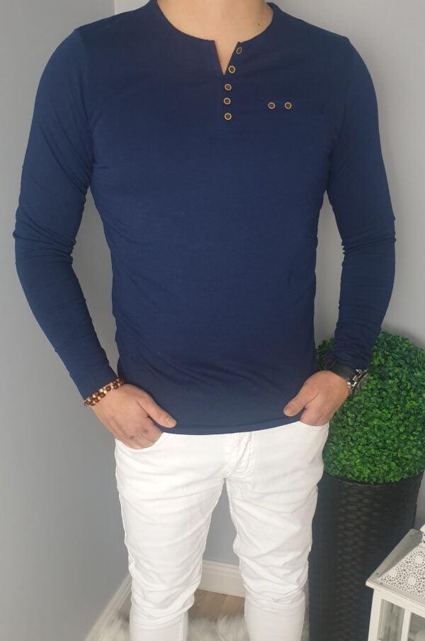 Granatowa Koszulka Męska Z Długim Rękawem Longsleeve