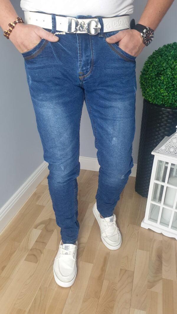 Jeansy męskie z przetarciami niebieskie