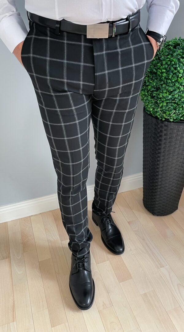Czarne eleganckie męskie spodnie w kratę
