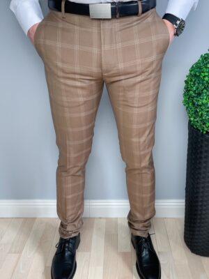 Eleganckie spodnie męskie slim fit w białą kratę