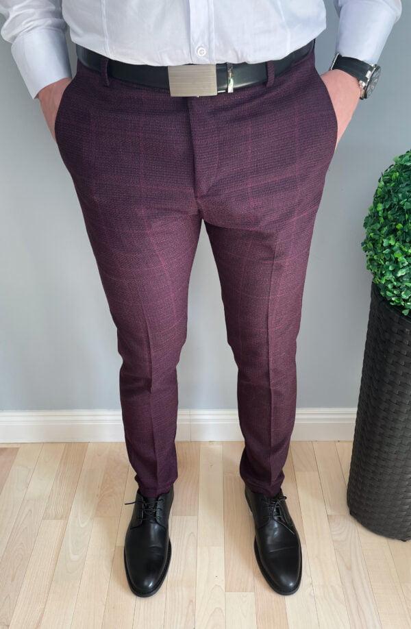 Spodnie męskie wizytowe bordowe w kratę