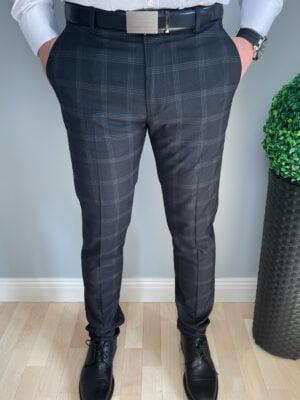 Grafiowe eleganckie spodnie męskie w kratę