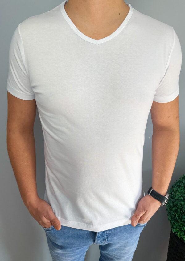 Koszulka męska biała z dekoltem w serek