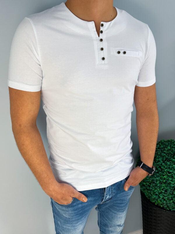 Koszulka męska biała z ozdobnymi guzikami