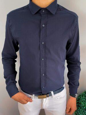 Granatowa gładka męska koszula