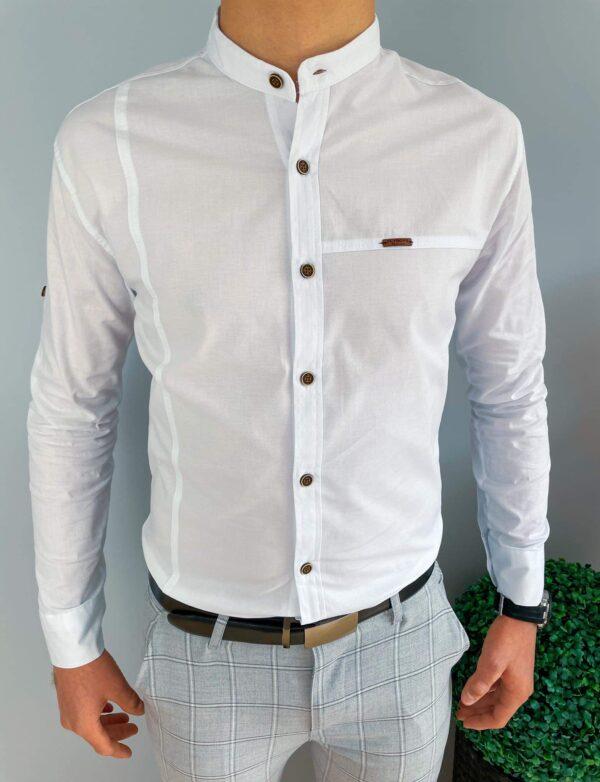 Gładka biała koszula z oryginalnymi przeszyciami