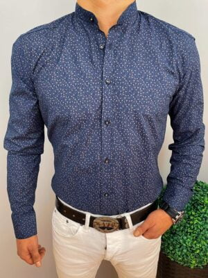 Koszula granatowa w beżowe delikatne wzory