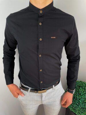 Koszula męska czarna z oryginalnymi przeszyciami