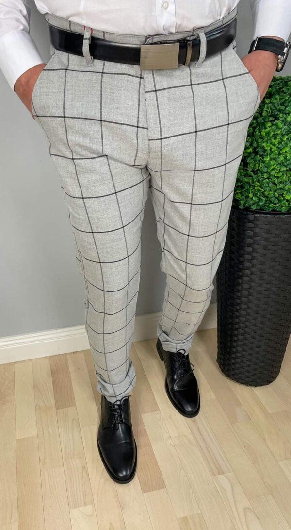 Szare męskie spodnie w czarną kratę