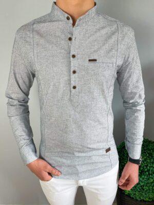 Koszula męska w kolorze szarym ze stójką