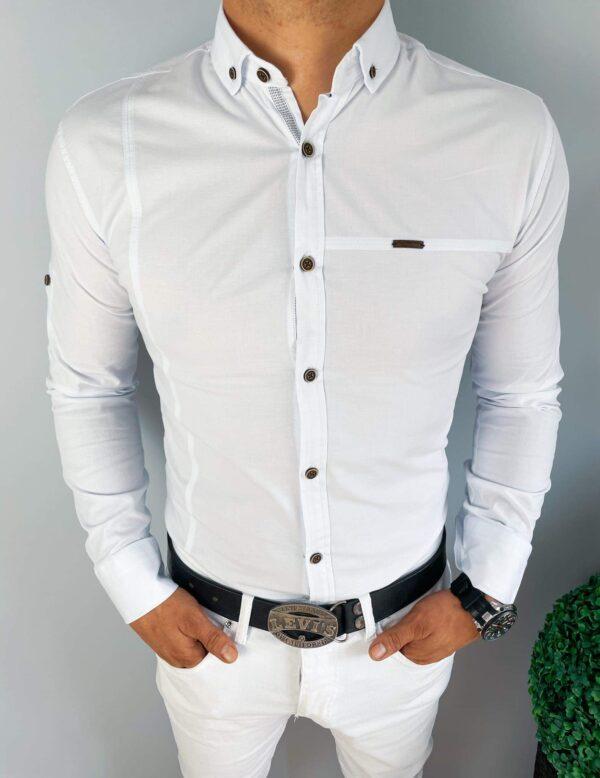 Biała koszula z kołnierzem męska