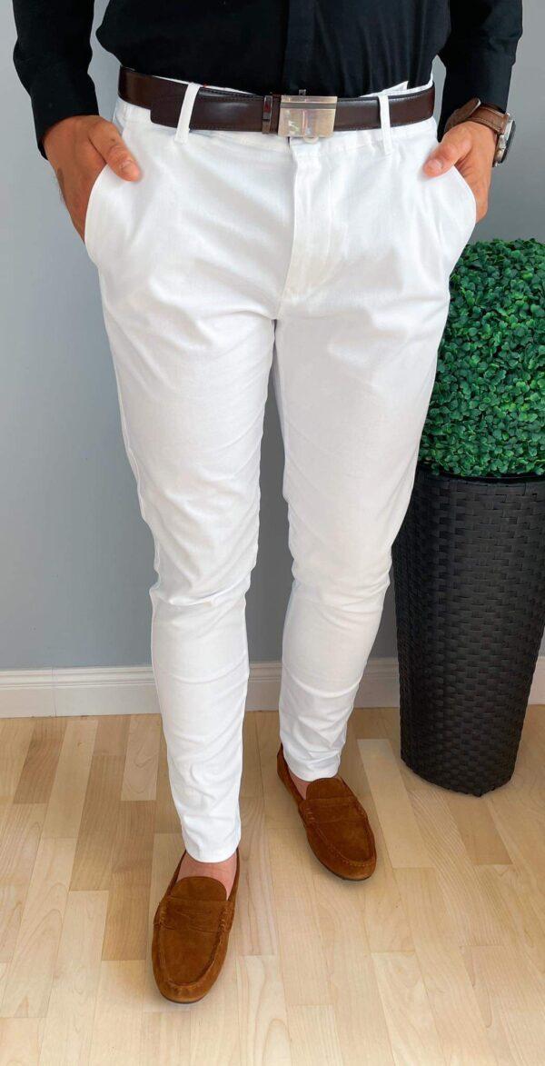 Eleganckie materiałowe białe spodnie