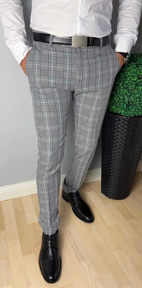 Szare eleganckie spodnie w kratę