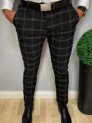 Czarneeleganckie spodnie wkratę