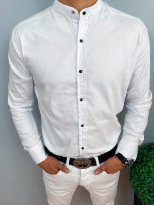 Biała gładka męska koszula ze stójką