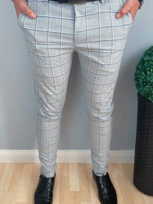 Spodnie wyjściowe szare w kratę