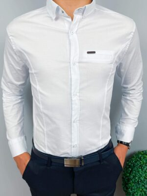 Biała koszula męska z kołnierzem