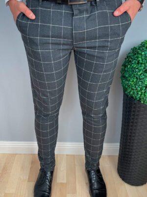 Spodnie męskie ciemnoszare w białą kratę