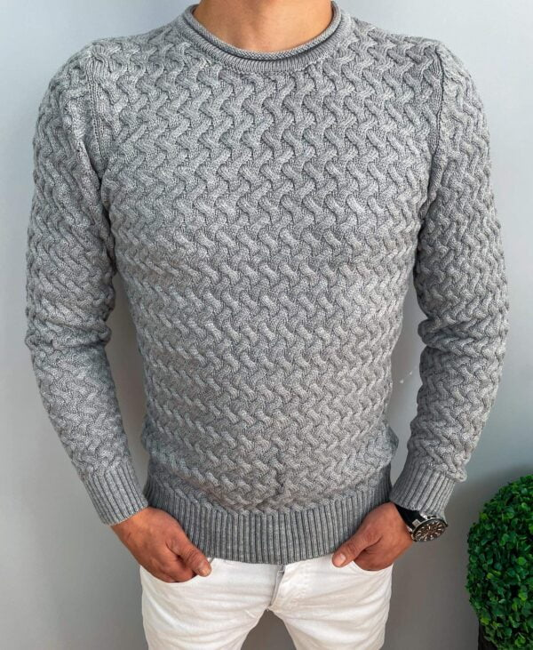 Męski gruby sweter w kolorze szarym