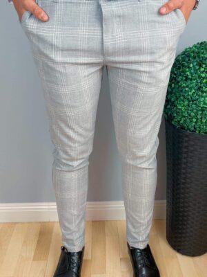 Eleganckieszare męskie spodniew biała kratę